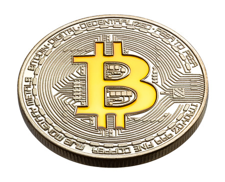 decentralized: Cryptocurrency physical colored bitcoin coins. Yellow bitcoin. High resolution photo.