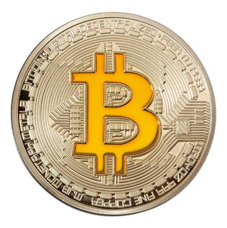 白 backgrouond の黄金の bitcoin のイメージを閉じます。高解像度写真。