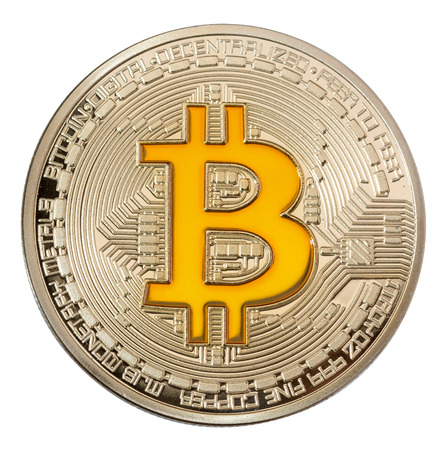 Close up image of golden bitcoin on white backgrouond. High resolution photo.