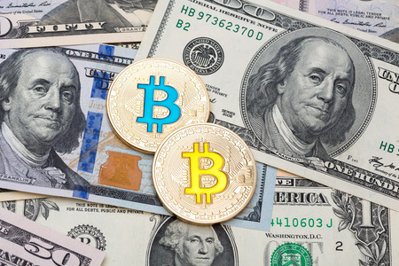 silver coins: Dollar cash background, banknote and golden bitcoin. High resolution photo. Stock Photo