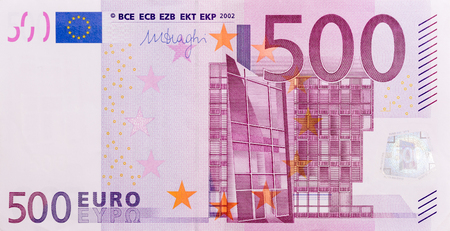 Banknote of five hundred euro. High resolution photo.