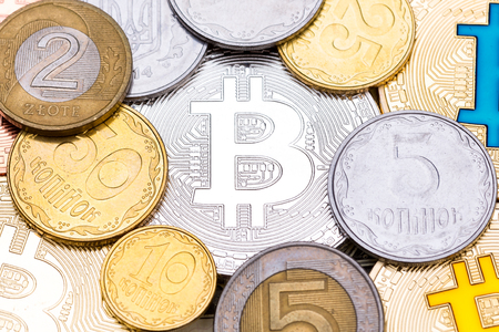silver coins: Different coins on silver bitcoin background. High resolution photo. Stock Photo