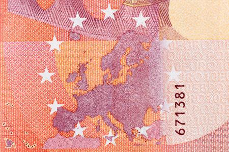 Photographed close-up money of the European Union. The par value of twenty euro. High resolution photo. Stock Photo