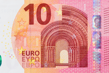 Photo of ten euro banknote in macro shot. High resolution photo.