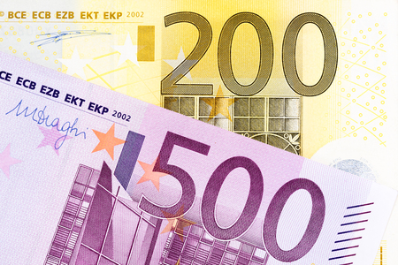 European banknotes of large amounts. High resolution photo.