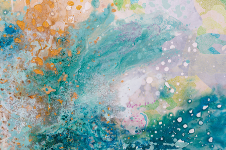 Close up of abstract painting. Oil picture. Colors splashing. High resolution photo. Stock Photo