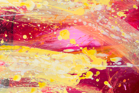 Abstract painting color texture. Bright artistic background in red and yellow. High resolution photo. Stock Photo