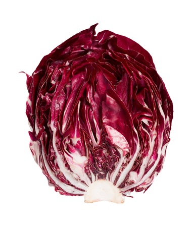 high section: Extraordinary Radicchio salad in section on white background. High resolution photo. Stock Photo