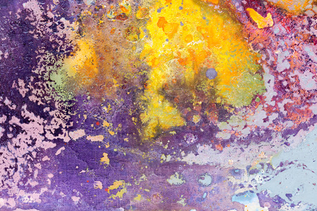 Abstract painting. Yellow and purple colors. High resolution photo.
