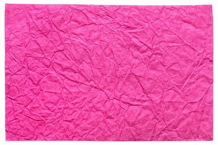 Isolated crumpled sheet paper in stylish pink color for elegant new gift card.