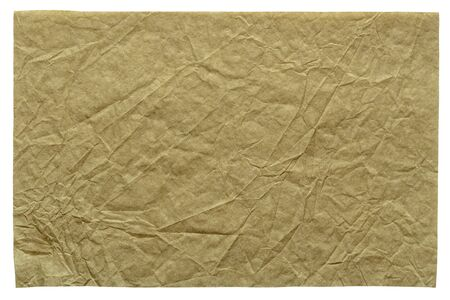 Isolated crumpled sheet paper texture as part of your new design work, background in light beige tone.