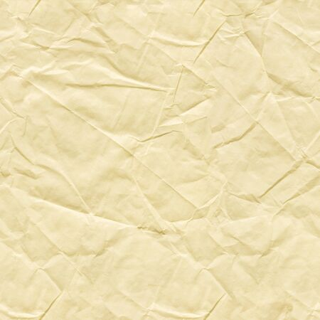 Crumpled paper background in light beige color as part of your greeting card. Seamless texture. Imagens