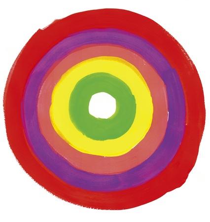 赤いペンキで描かれているフープ 写真素材