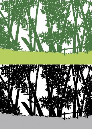 Silhouette de bambou en Asie Illustration