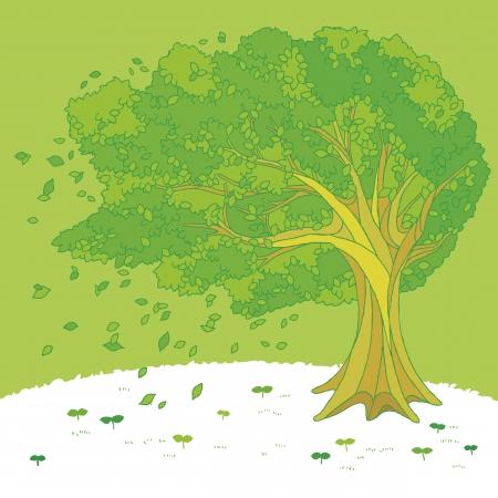 Ilustracja drzewa kołyszące się na wietrze