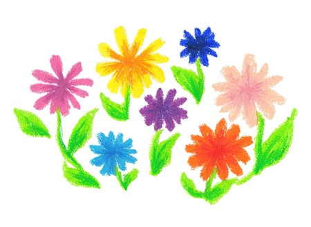 Bouquet was drawn with a crayon