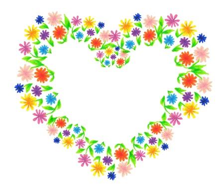 Bukiet kwiatów narysowany kredką