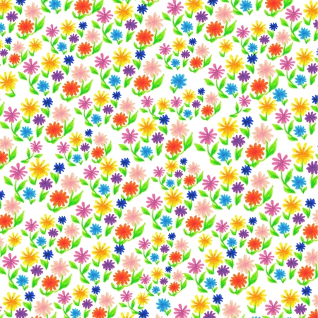 Floral background was drawn with a crayon