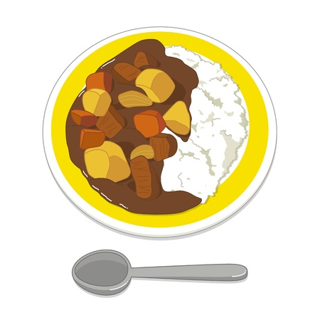 beef curry: Illustration of curry and rice
