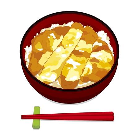 Pyszny kotlet wieprzowy w Japonii s na ryżu
