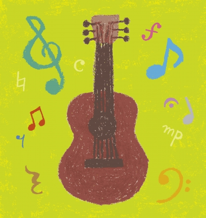 Note the guitar and was drawn with a crayon