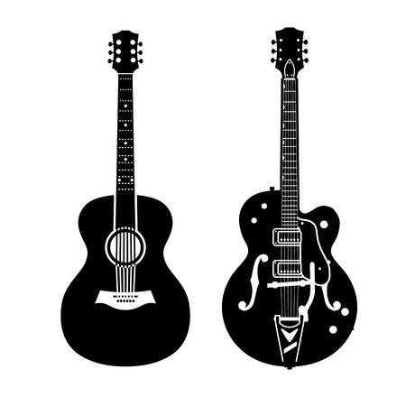 Acoustic guitar and electric guitar 向量圖像
