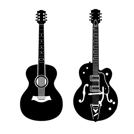 Akoestische gitaar en elektrische gitaar Stock Illustratie