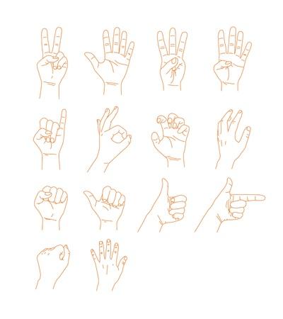 Różne znaki ręką Ilustracja