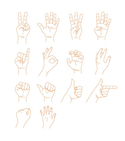 Various signs of hand