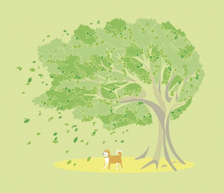 breeze: Trees and dog
