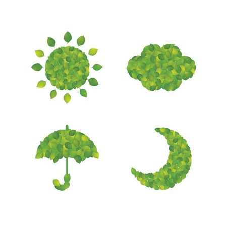 Icon of weather made from leaf Illustration