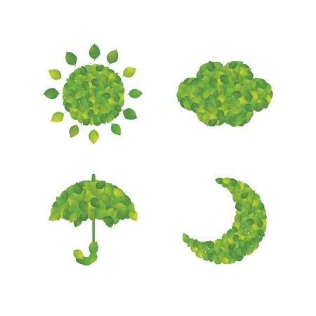 Ikona pogody wykonana z liści
