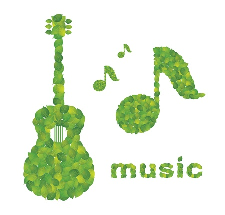 music symbol: Guitar and note made in the leaves Illustration