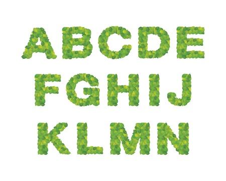 Alfabet z liÅ›ci Ilustracja