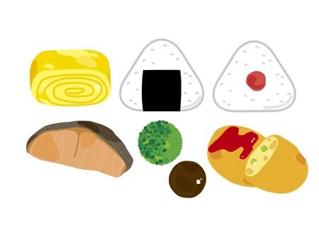Japońskie potrawy lunch box boczne Ilustracja