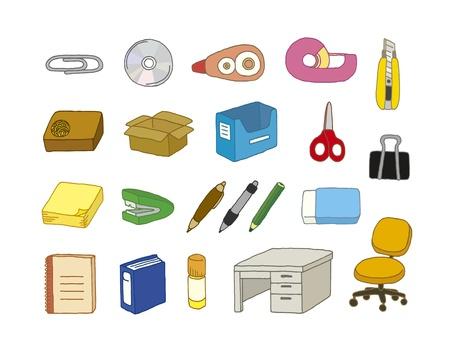 Różnorodność materiałów biurowych Ilustracja