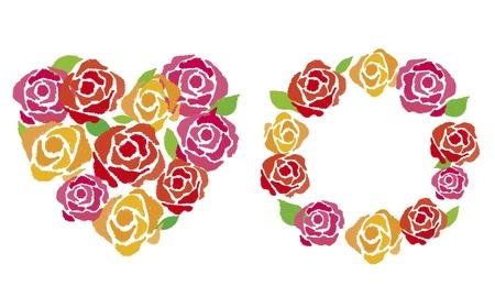 Bukiet róż został narysowany kredką