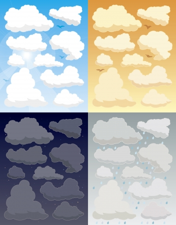 fluffy clouds: Illustration of various cloud Illustration