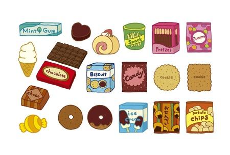 Ilustracja z różnych słodyczy Ilustracja