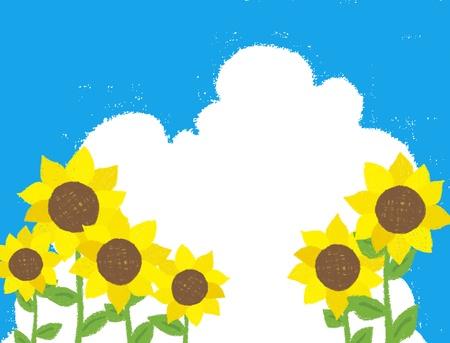 Ramka Słonecznik został narysowany kredką Ilustracja