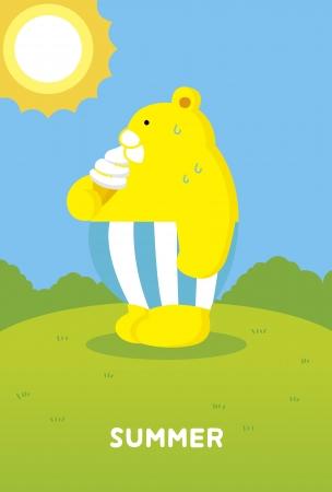 Hot summer of bear Illustration
