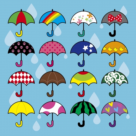 Filled with a variety of umbrella Vector