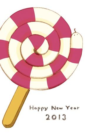 Kartkę z życzeniami i słodycze wąż