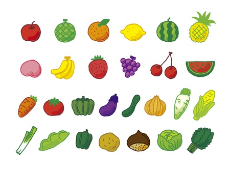 Healthy vegetables and fruits