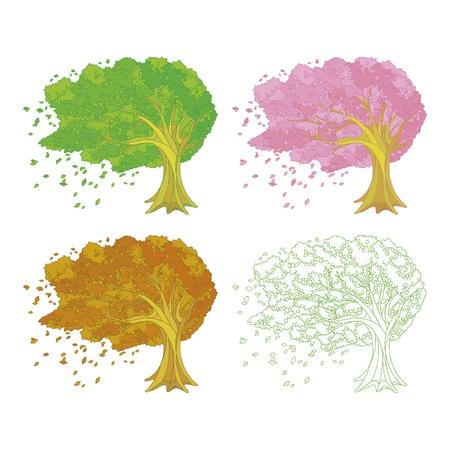Arbre dans le vent des quatre saisons