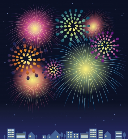 City and fireworks Vector