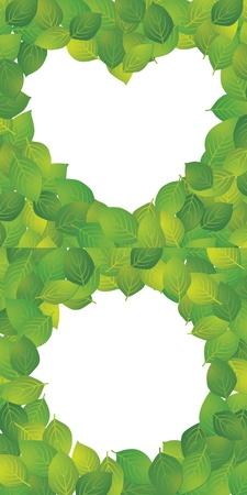 Ramka w kształcie serca, z okrągłym ramki z liści Ilustracja