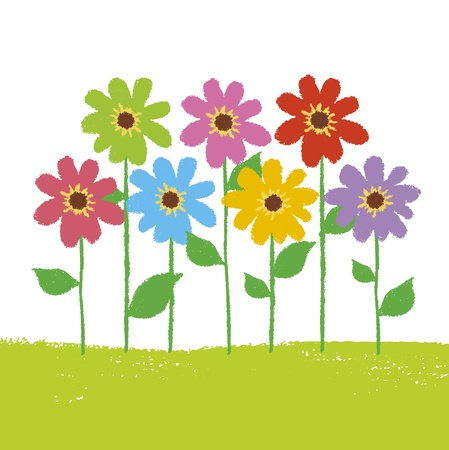clip art draw: Colorful flower garden