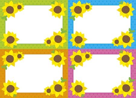 Ramka Słonecznik z czterech Ilustracja