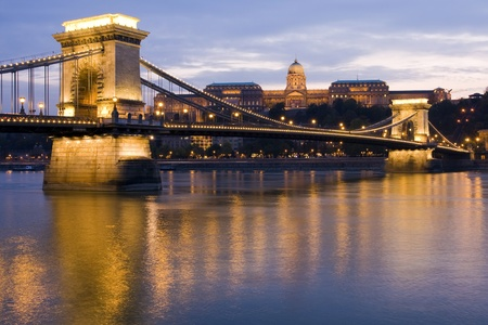 Royal Palace, Chain Bridge and Danube River in Budapest, Hungary
